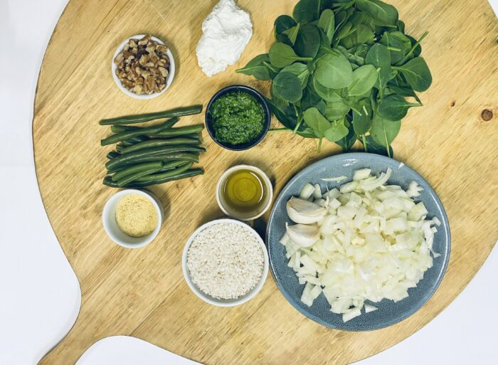 Ingredients shot. Basil Pesto & Goats Cheese Risotto With Beans, Baby Spinach & Walnuts
